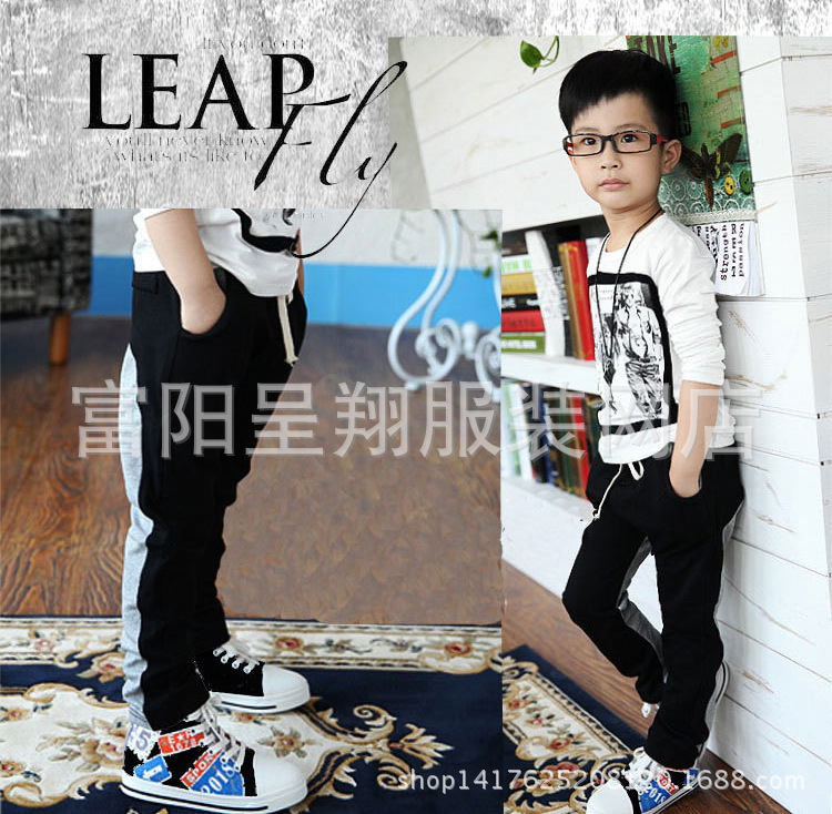 Spliced Boys Pants 2015 New Autumn Leisure Child Clothing Cotton Terry Kids Fashion Sweatpants Black Sports Spliced Boys Pants(China (Mainland))