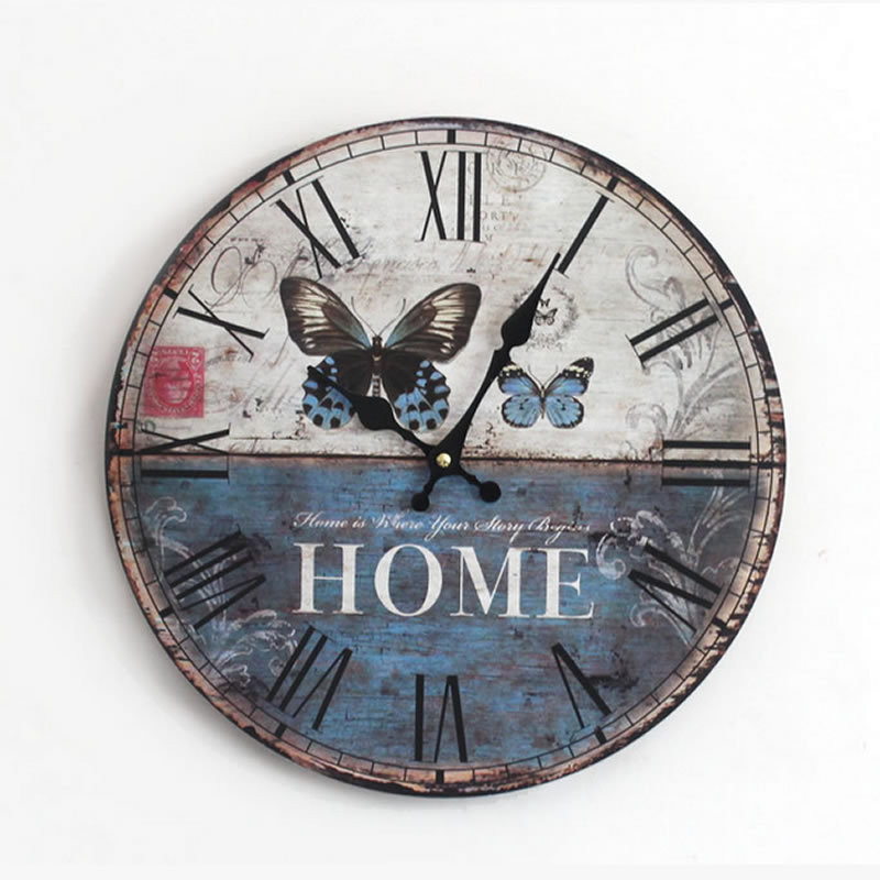 Antique Wooden Wall Clock Decorative Butterfly Solid Wood Clock Roman Numerals Time Watch Electronic Wall Clocks(China (Mainland))