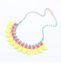 European And American Candy Color Sweet Bubble Resin Drop Necklace