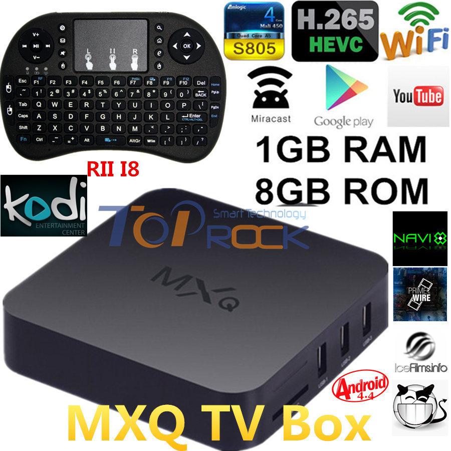 Wholesale Original MXQ Android 4.4 TV BOX Amlogic S805 Quad Core KODI Wifi Receiver Smart Media Player + RII I8 mini Keyboard(China (Mainland))