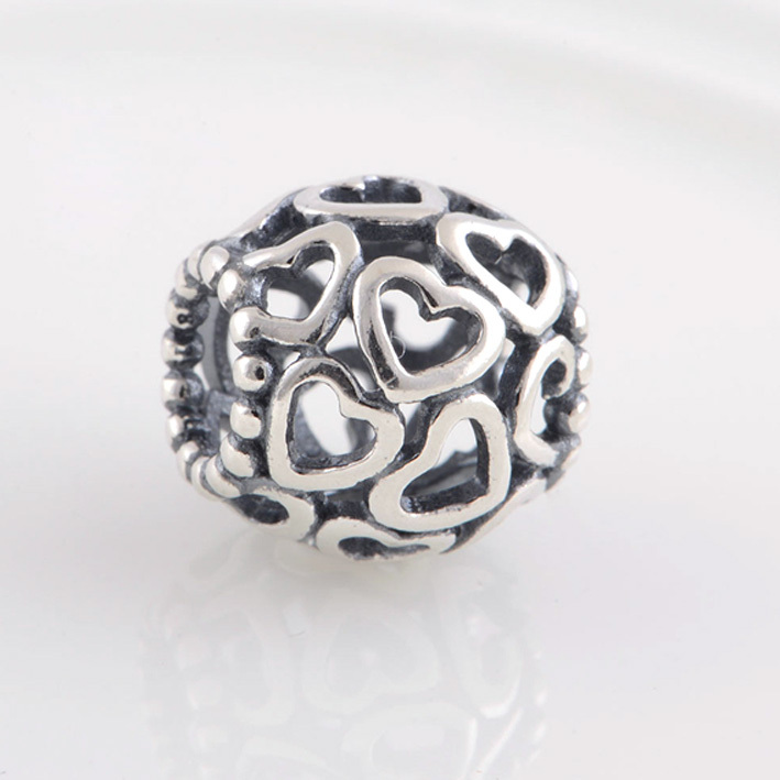 HOT SALE Fits Pandora Charms Bracelet Openwork Heart Charm Orignal 925 Sterling Silver Beads Jewelry Making Floating Charms(China (Mainland))