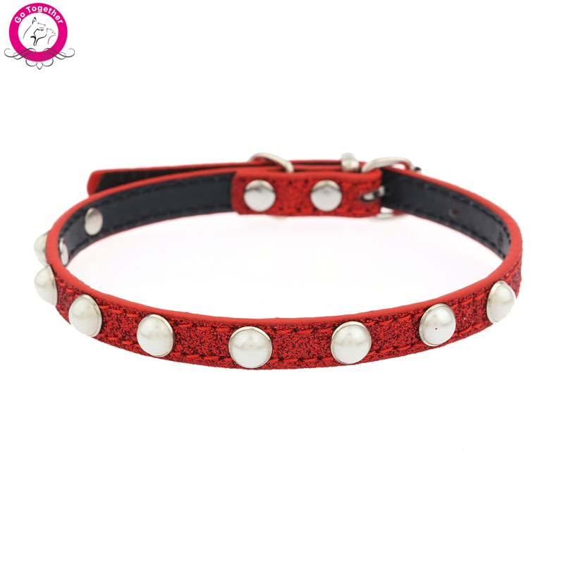 1cm Width Cat Collar Pearls Studded PU Leather Neck Strap Bling Small Dog Collar(China (Mainland))