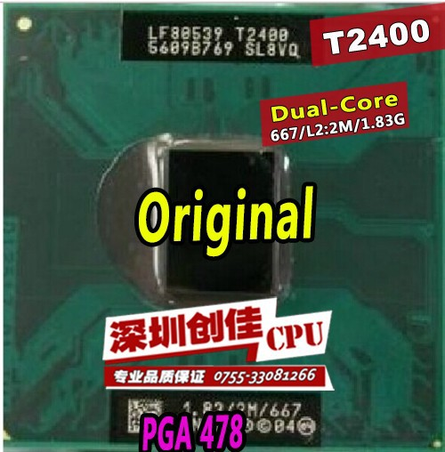 free shipping 1pcs for intel Core Duo T2400 CPU 2M Cache,1.83GHz,667MHz FSB Laptop processor support 945 chipset(China (Mainland))