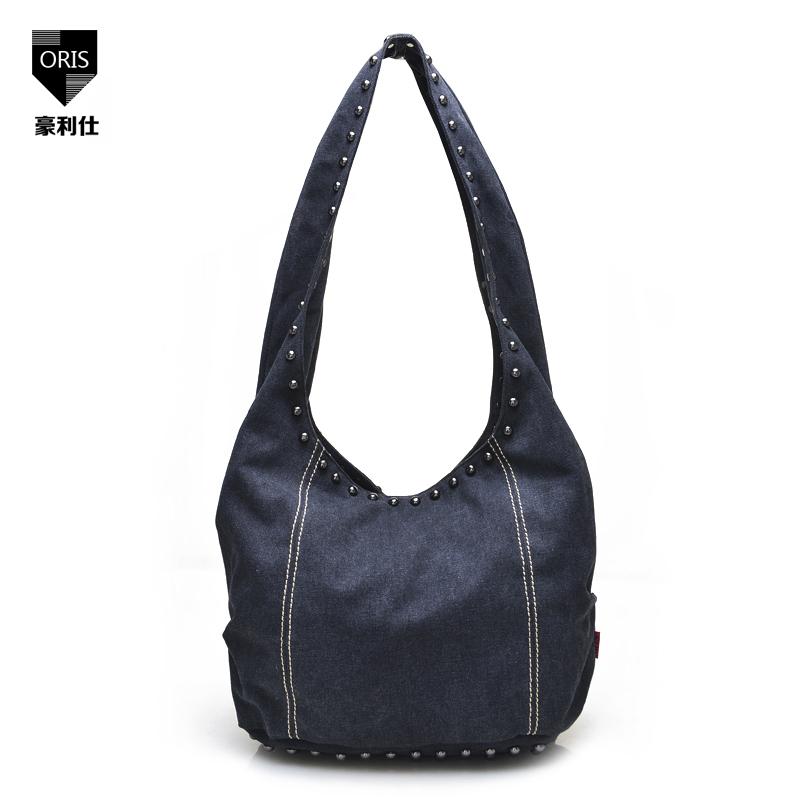Squirrel Fashion Casual Tote Handbag Canvas Shoulder Single Rivet Rock individuality Medium Women Solid Soft Versatile Soft Punk(China (Mainland))