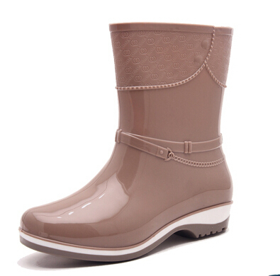 Women Spring Fashion Black Red Beige Platform Mid Calf Rain Boots Waterproof Wellies Boots Lady
