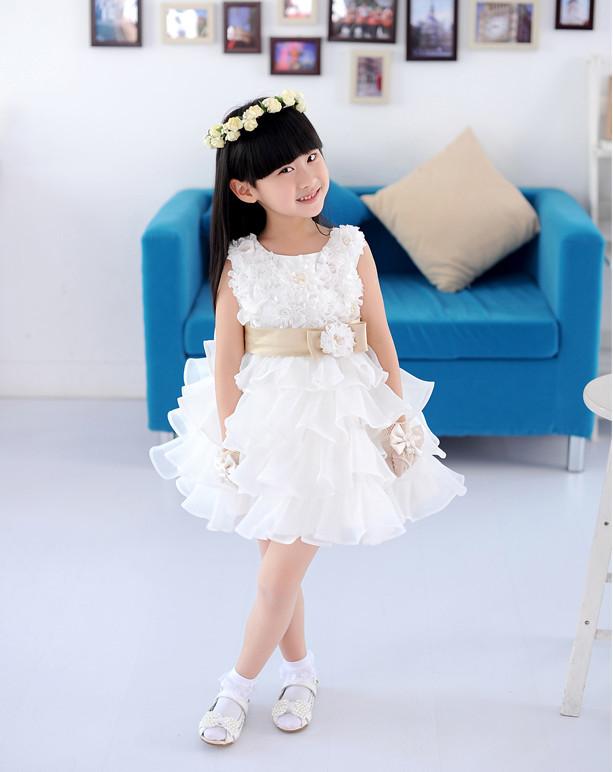 2016 gorgeous princess girl dress/Summer layered chiffon party dress/Beautiful girl rosette dress(China (Mainland))