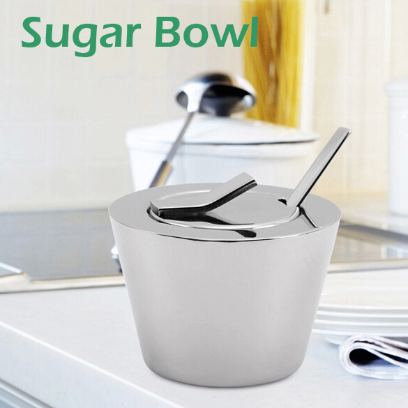 unique sugar pot 2pcs/set caster 18/10 stainless steel well series tablewares brand new free shipping(China (Mainland))