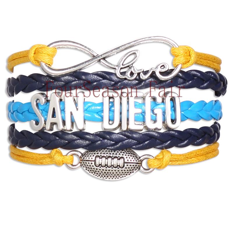Customizable-Infinity Love SAN DIEGO football Team NFL Bracelet yellow navy blue Wristband friendship Bracelets -Drop Shipping(China (Mainland))