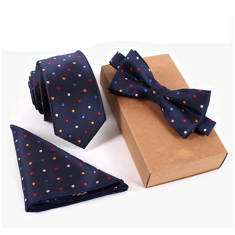 Fashion Wedding Color Dot Necktie & Pocket Square Towel & Bow Tie Set Mens Suit Papillon Corbatas Handkerchief Slim Tie gravata(China (Mainland))