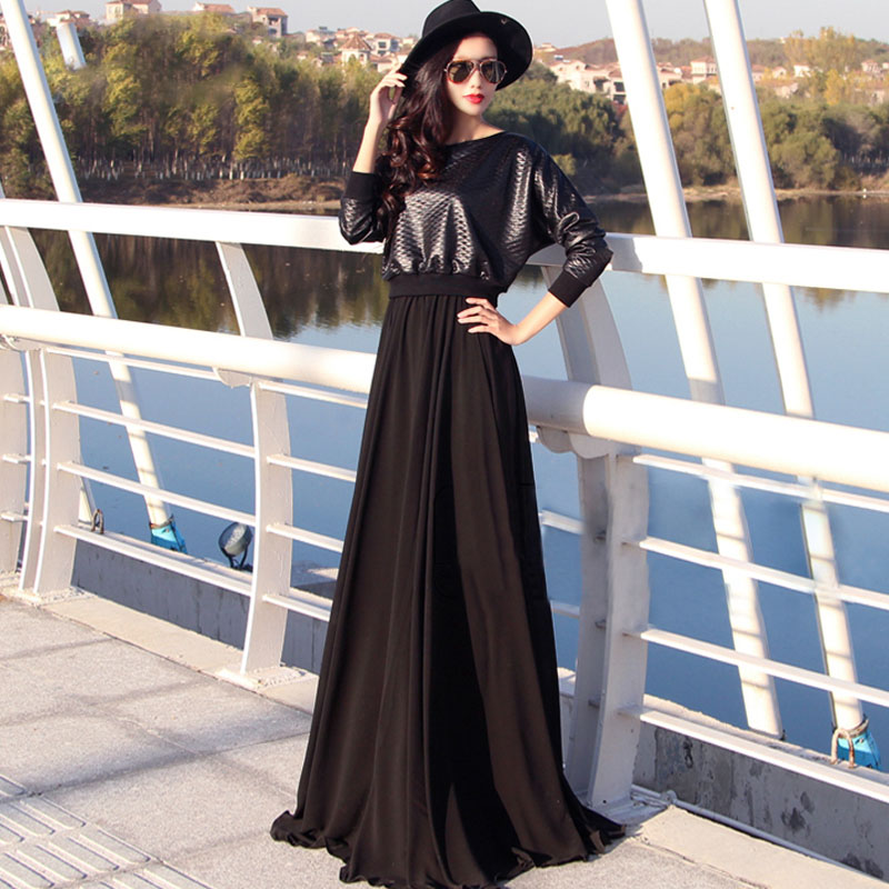 15 autumn faux two piece dress female long-sleeve chiffon ultra long expansion bottom full muslim abaya - NATIONAL FASHION LADY store