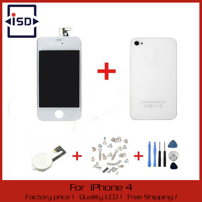 White Touch Screen + LCD Display Digitizer + Glass Back Housing Cover + Home Button Replacement part For iPhone 4G &Screw Tools(China (Mainland))
