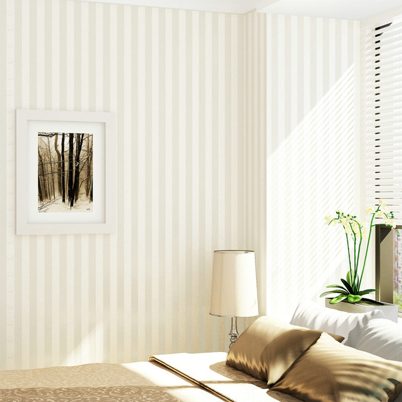 Modern Solid Color White Vertical Striped Wallpaper Bedroom Wallpaper Living Room Wall Paper
