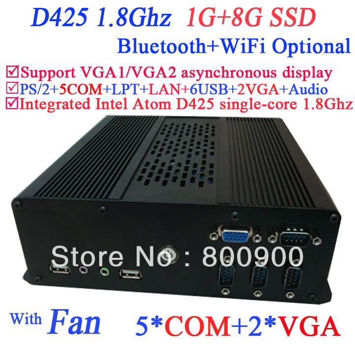 2014 new arrival industrial POS computer with dual VGA Intel Atom D425 single-core processor 1.8Ghz 1G RAM 8G SSD Windows Linux(China (Mainland))