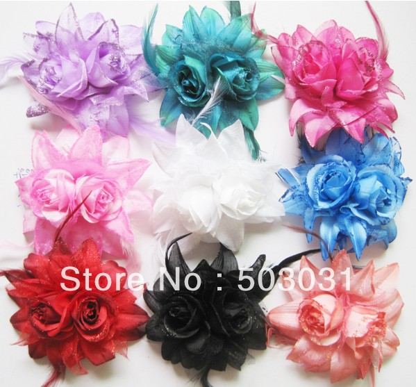 Free Shipping 50pcs Wholesale bride head feather flowers corsage with pin and loops wedding Dress decoration head accessory<br><br>Aliexpress