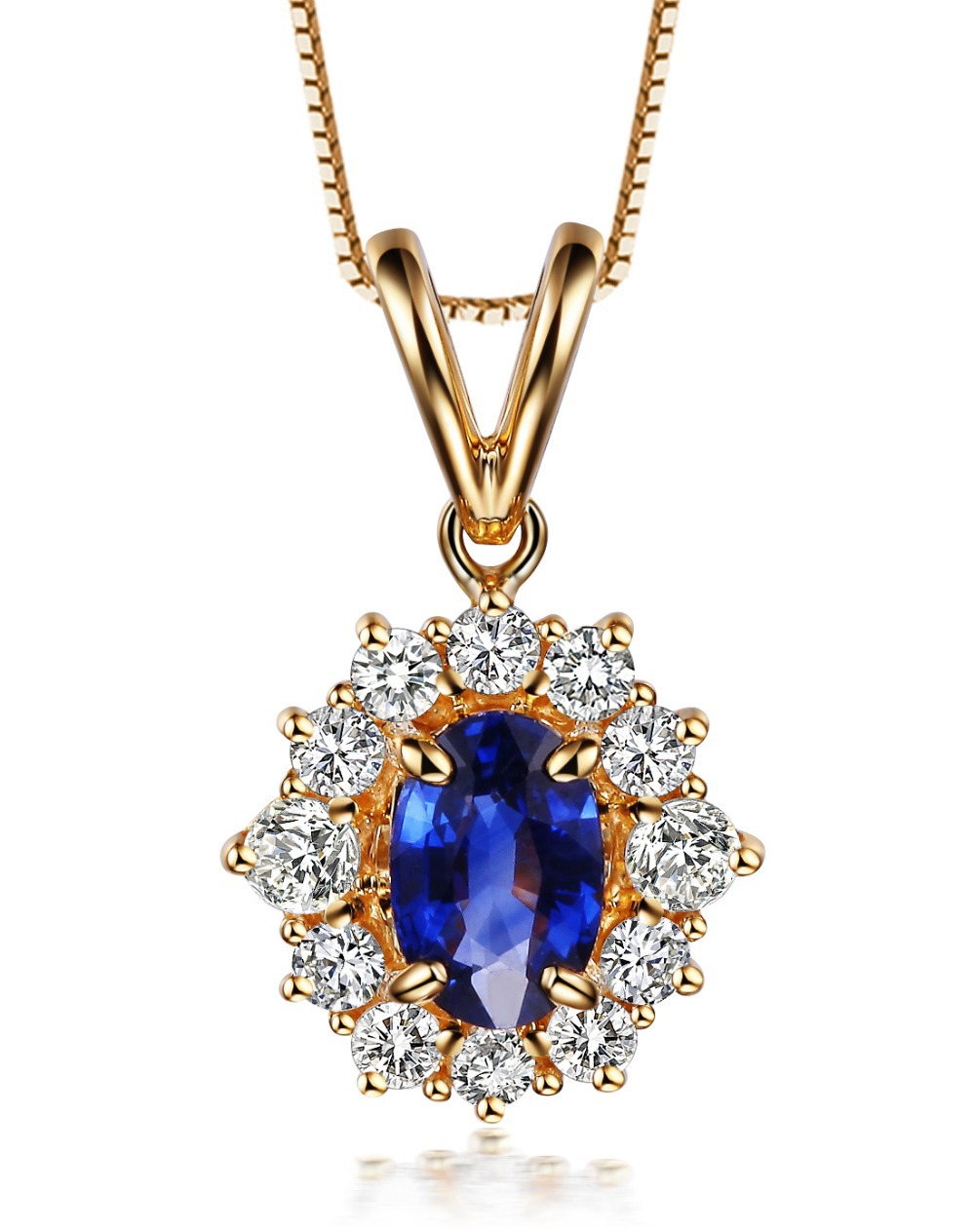 Fine Jewelry Diamond Pendants Of 18k Yellow Gold 0 5ct Natural Sapphire Gemstone Diamond