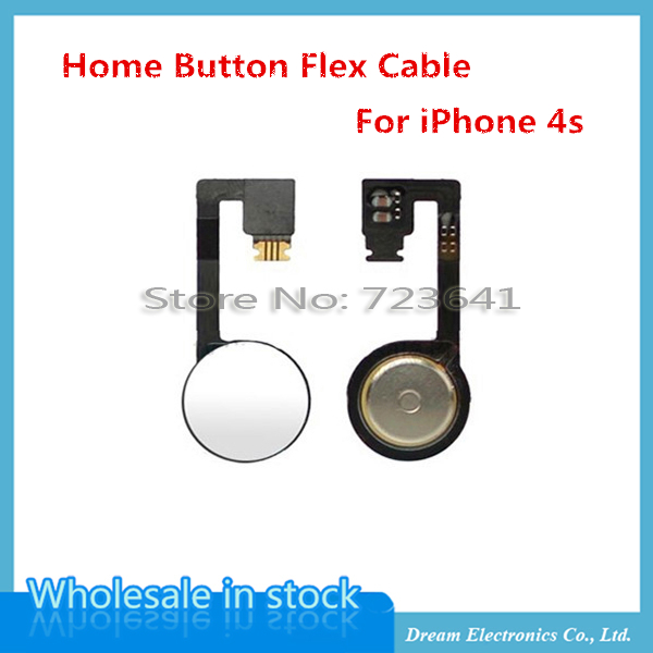 10pcs/lot High Quality NEW Home Button Flex Cable For iPhone 4s Replacement Part Home Button Ribbon Flex Cable free shipping(China (Mainland))