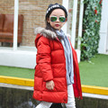 2016 Promotion New Winter Children Jacket Dresses Warm Long Thicken Kids Cotton Coat Feather Collar 5