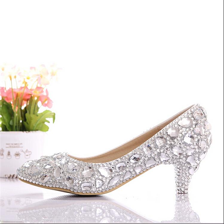 Free Shipping 2015 New Silver Low Heel Wedding Shoes Handmade Rhinestone Elegant Bridal Shoes