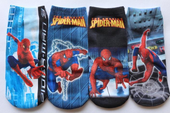 New Children boys Spider-Man socks kids baby cute fashion boy cartoon SpiderMan tube sock 2-5 or 5-12 years 12pairs/lot(China (Mainland))