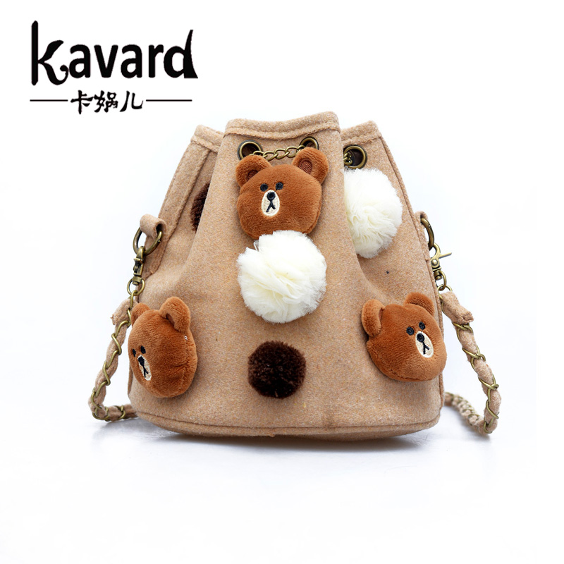 Famous Brand bear Felt bag Small MINI Chains Bucket Bag Women Messenger Bag ladies Crossbody Handbag sac a main femme de marque(China (Mainland))