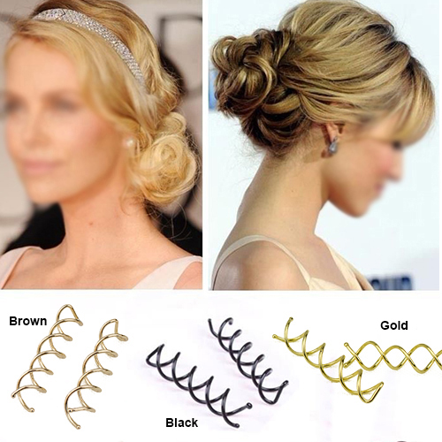 2015 10 pcs Gold Brown Black Spiral Spin Screw Pin Hair Clip Twist Barrette Hairwear For Hair Style.(China (Mainland))