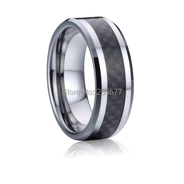 Lifetime Collection Mens Fashion Jewelry Black Carbon Fiber Tungsten Carbide Wedding Bands
