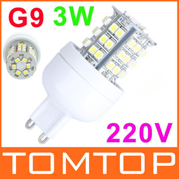 220V 192LM 3W G9 48 SMD3528 LED Corn Light Bulb Lamp Pure WhiteLED Spotlight
