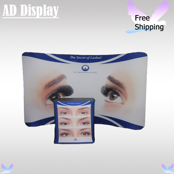 Exhibition Booth 10ft*7.5ft Curve Trade Show Tension Fabric Banner Display Stand With Single Side Printing+Durable Square Table(China (Mainland))