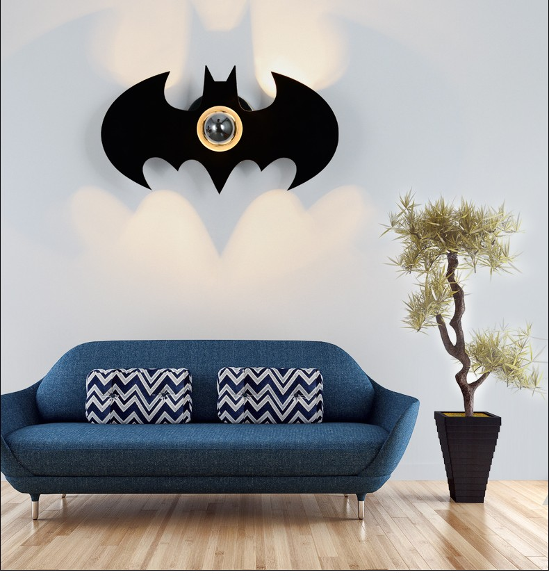 Fashion Modern Art High Grade E27 Wall Lamp For Home Bedroom Living Room Decoration Wall Light Black Bat WWL046