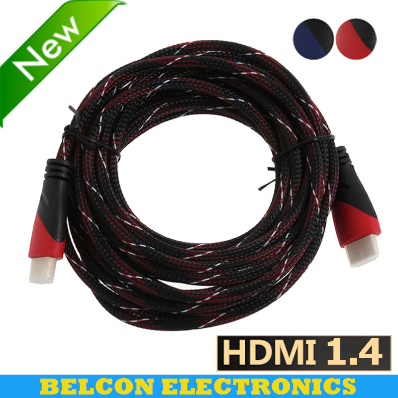 High Speed HDMI Cable Gold Plated Connection with Red, black and white mesh 1080P,0.5m,1m,1.5m,1.8m,2m,3m,5m,6m,10m,15m hdmi(China (Mainland))