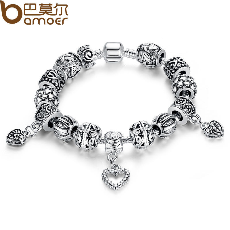 Aliexpress Luxury 925 Silver Charm bracelet for Women Fashion DIY Beads Jewelry Fit Original pandora Bracelets Pulseira Gfit