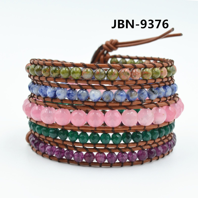 Fashion Jewelry handmade multilayer Leather Braided natural stone Wristband men bracelets & bangles for women JBN-9376(China (Mainland))