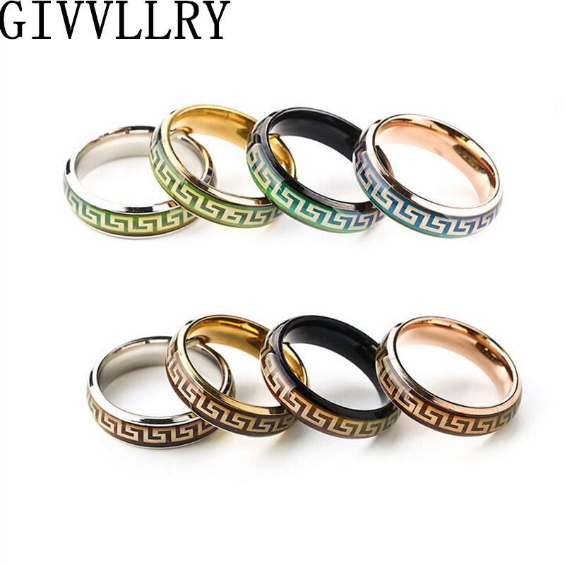 Changing Color Titanium Mood Rings Temperature Emotion Feeling Engagement Rings Women Men 2016 Promise Rings For Couples Jewelry(China (Mainland))