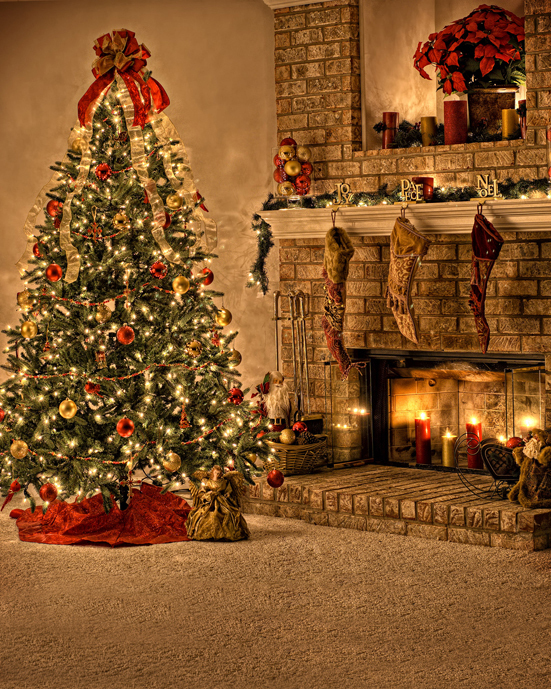 10x10FT Indoor Christmas Tree Boots Candles Stone Fireplace Custom Photography Studio Backdrop Background Vinyl 8x15 10x20(China (Mainland))