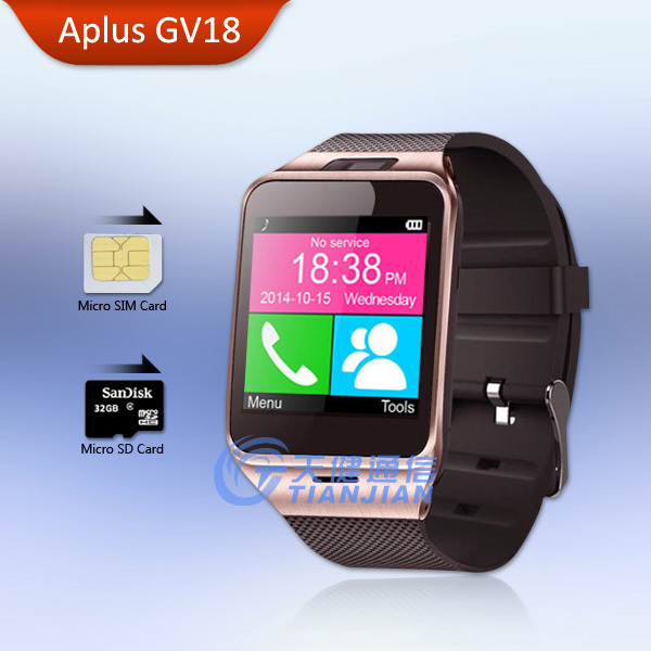 Wearable Device Health Pedometer Mp3 Waterproof Bluetooth gv18 Smartwatch with SIM Card Mobile GSM Android Smart Watch Phone(China (Mainland))