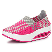 Breathable Women Casual Shoes Woman Air Mesh Height Increasing Platform Shoes Summer Knit Girl Shoe Zapatillas Deportivas 2016