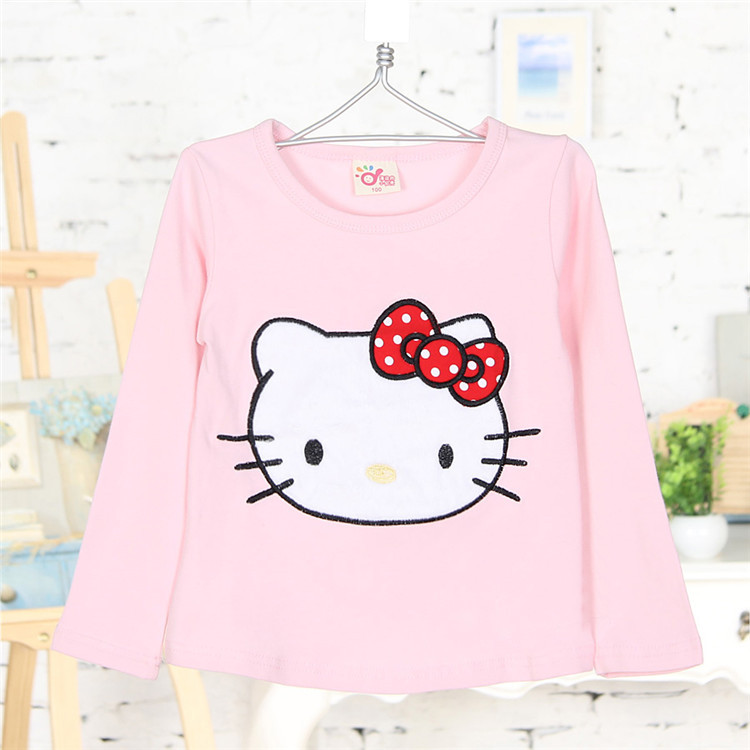 2015 spring and autumn and the cat girls clothing baby child top long-sleeve T-shirt A0526 basic shirt(China (Mainland))