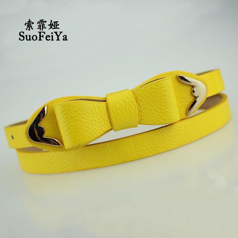 2015 New Winter Fashionable Bow Thin Belt All-match Fashion Belt Designer Belts(China (Mainland))
