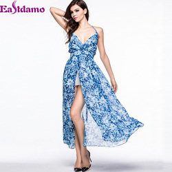 Blue Print Bohemian Long Maxi Dress 2015 Summer Deep V Sexy Bandage Beach Dresses Floral Vestido De Festa Elegant Chiffon Dress