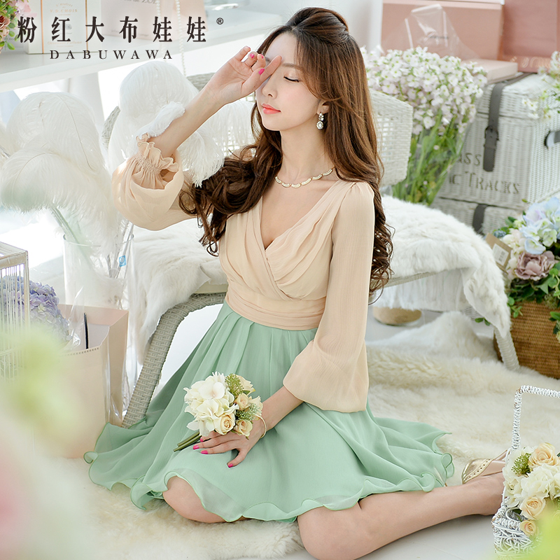 Poly long sleeved dress pink doll 2015 new spring female significantly thinner spell Chiffon Dress temperament