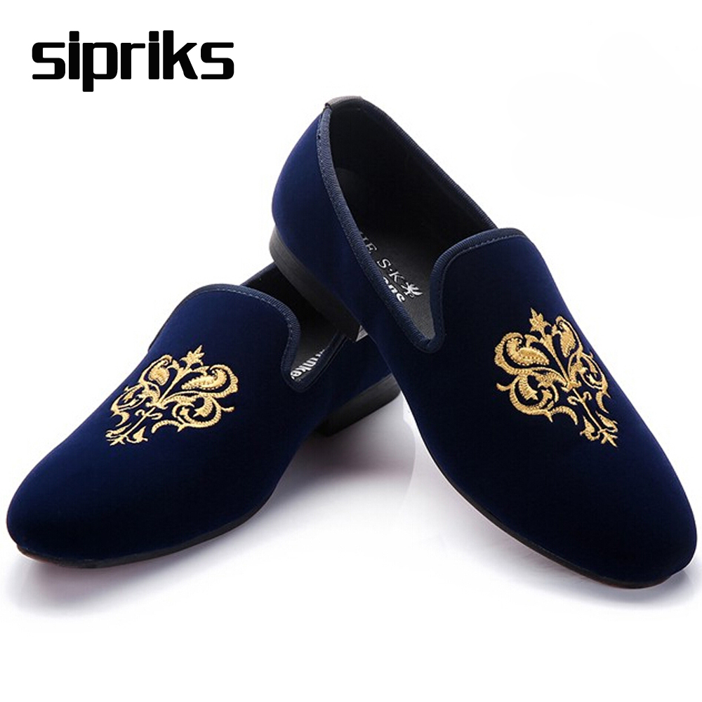 2016 Luxury Mens Navy Blue Loafers Mens Velvet Loafers Shoes British Mens Red Smoking Loafers Cool Male Slippers Shoes Hipster(China (Mainland))