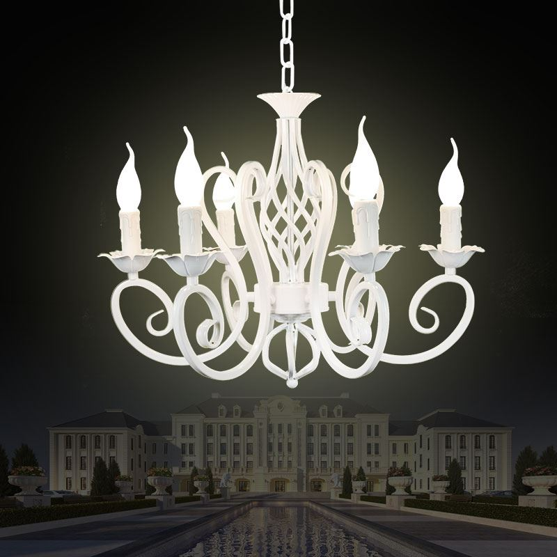 Christmas European Fashion Vintage Chandelier Ceiling lamp 6 Candle Lights Lighting Fixtures Iron Black/White Home Lighting E14(China (Mainland))