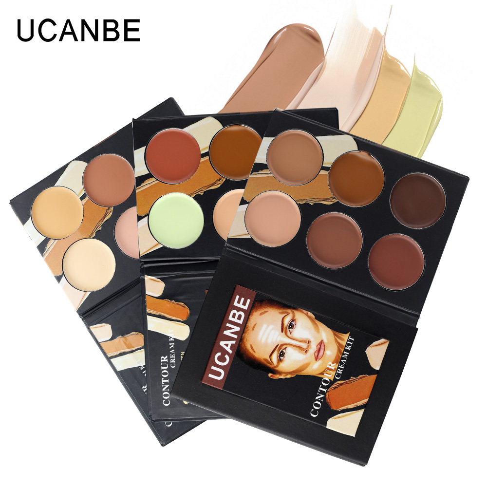 UCANBE Professional Cosmetic face 6 colors contour cream Makeup Camouflage foundation base primer corrector contouring palette(China (Mainland))