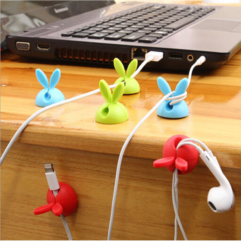 5PCs / Lot Rabbit Cable Drop Clip Desk Tidy Organiser Wire Cord USB Charger Holder(China (Mainland))