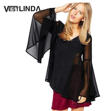 Buy VESTLINDA Flare Sleeve Chiffon Blouses Women Blusas 2017 V Neck Shirts Black See Sexy Blouse Fashion Ladies Blouse Tops for $7.31 in AliExpress store