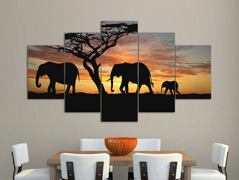 Living room elephant decor for What kind of paint to use on kitchen cabinets for large modern canvas wall art