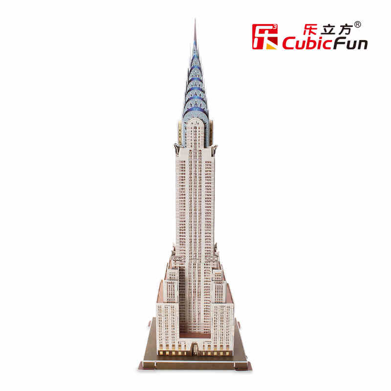 Medium Size Cubic Fun 3D Paper Puzzle DIY TOYS American Chrysler Building Model C075H for children gift(China (Mainland))
