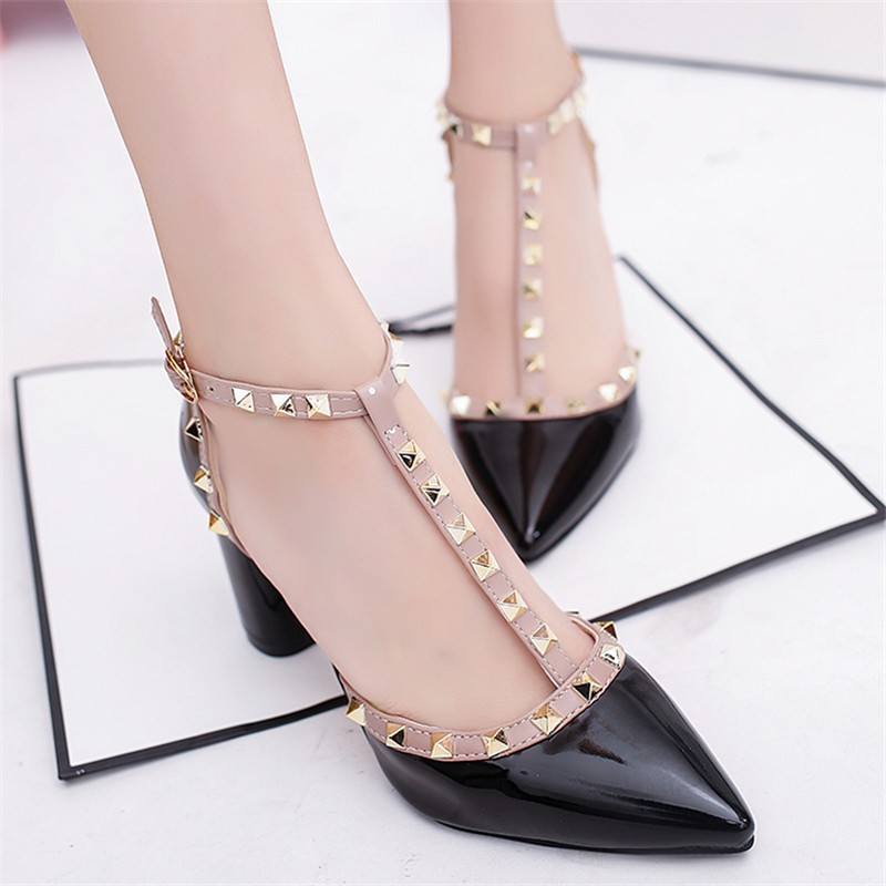 Ms. Noki new spring fashion novelty rivet women high heel pumps pointed toe lady wedding shoes T-strap square heel female pumps