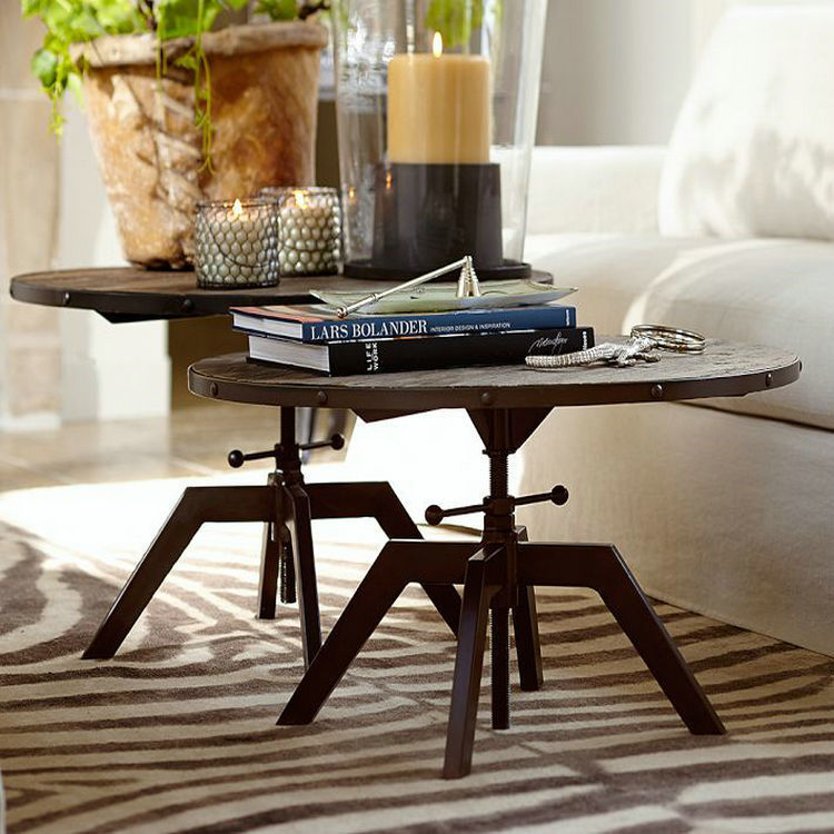 LOFT American style retro to do the old wrought iron wood round table wood coffee table coffee customization rotating lift(China (Mainland))