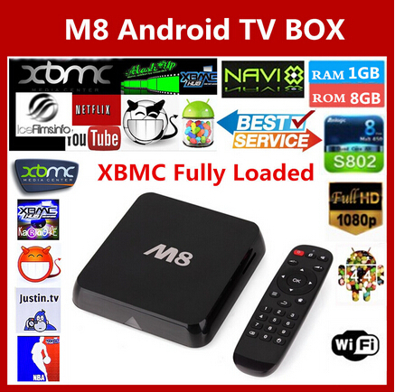 Original M8 Amlogic S802 XBMC Fully Loaded Android TV Box Quad Core Mali450 1080P WiFi Smart IPTV HD 4K*2K Media Player(China (Mainland))